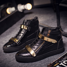 European station autumn and winter velvet double gold button GZ street dance men's shoes medium high top willow nail leisure fashion British Board Shoes man