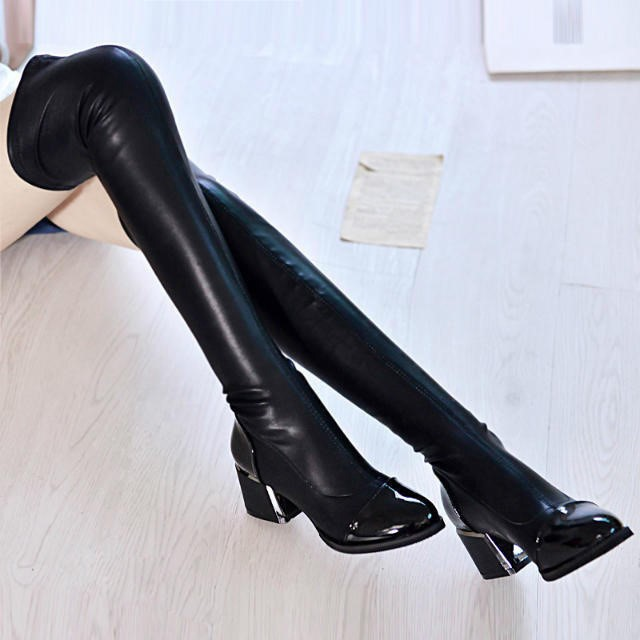 Korean winter long tube womens warm and plush high thick heel boots elastic and thin round head mid high heel over knee boots
