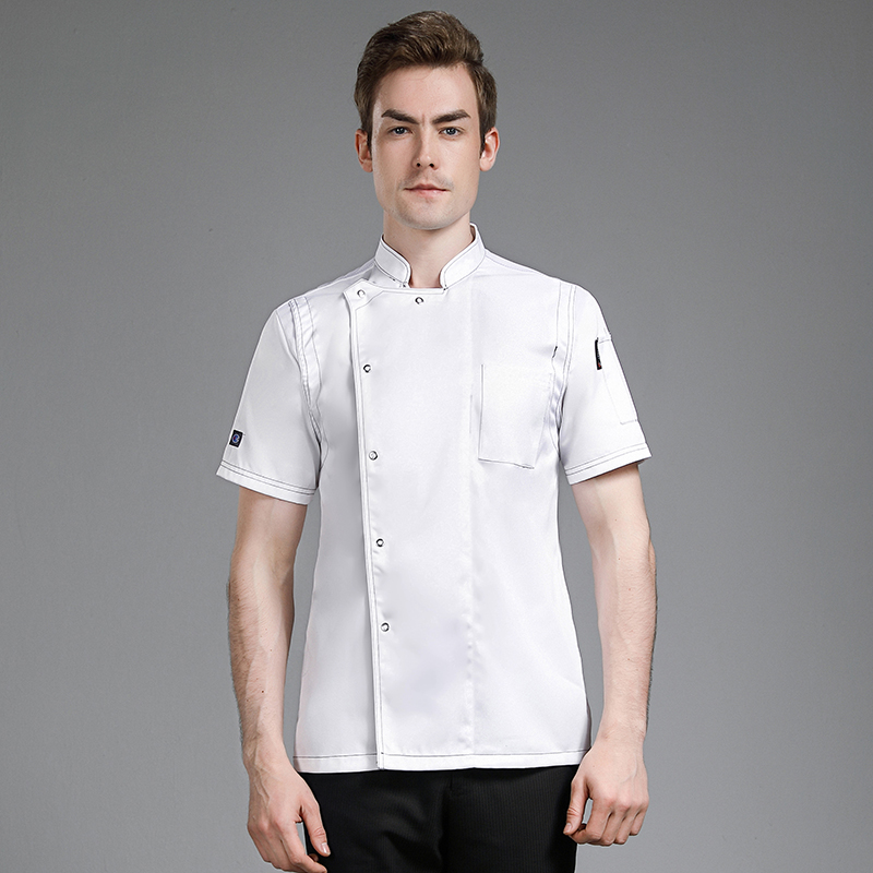 Hotel Catering chef work clothes short sleeve Hotel barbecue bar kitchen work clothes bakery uniform custom-made man