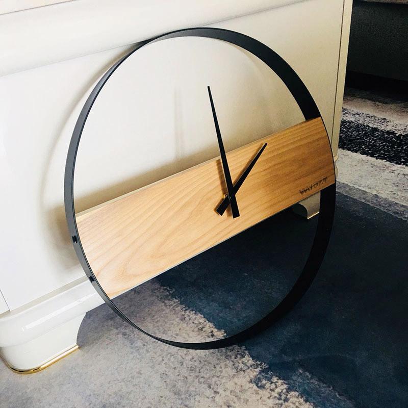 设木宇原创北欧挂钟客厅装饰个性极简 原木时钟现代简约艺术钟表