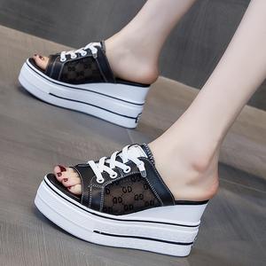 坡跟拖鞋女夏季时尚外穿2021年新款厚底内增高女鞋松糕鞋子凉拖鞋