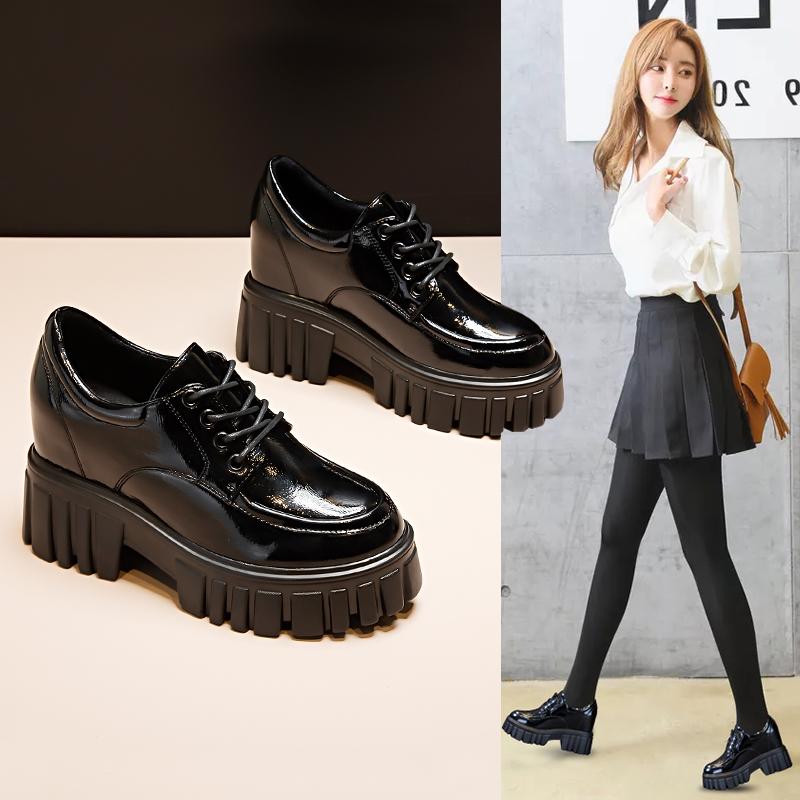 小皮鞋女英伦风2021新款爆款松糕厚底内增高女鞋春季高跟鞋子单鞋