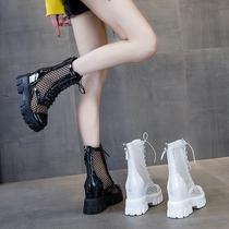 短靴女春秋单靴凉靴新款夏薄款马丁靴网红内增高中筒网纱镂空靴子