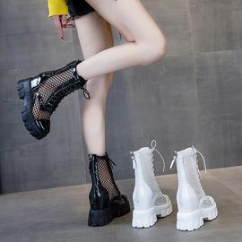 短靴女春秋单靴凉靴新款夏薄款马丁靴网红内增高中筒网纱镂空靴子图片