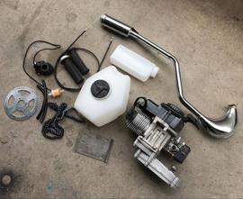 改装自行车汽油机二冲程49CC变速箱迷你越野发动机气缸体加长排气