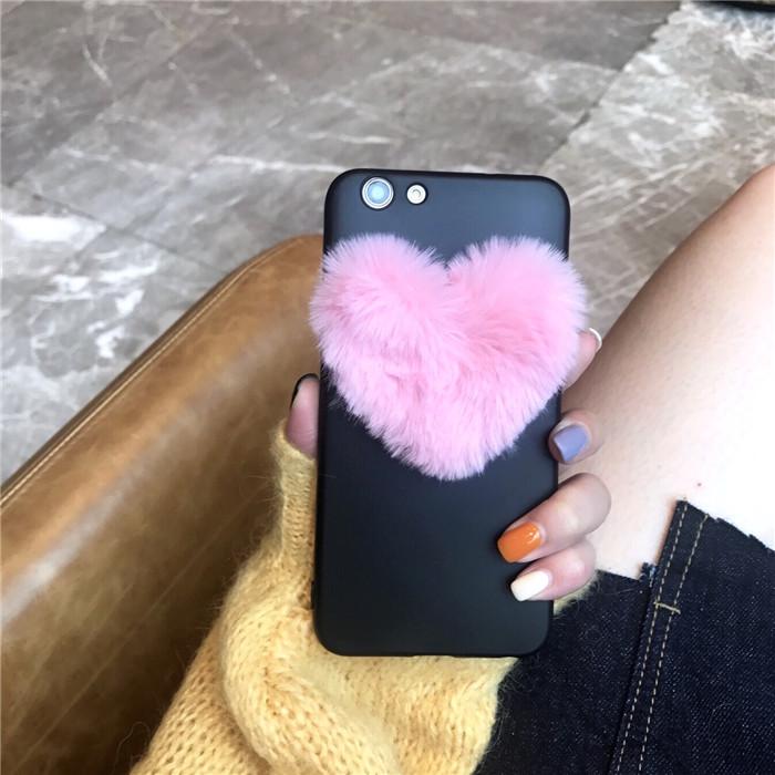 韩国少女爱心毛绒毛球iphone6手机壳苹果7/8plus硅胶4s软5se女款X
