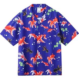 嚮往的生活張子楓同款衣服女復古港味寬鬆短袖金魚印花雪紡襯衫潮