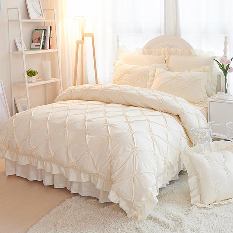 欧式纯棉100全棉高档公主风床上四件套1.8m床双人床裙款网红床品4