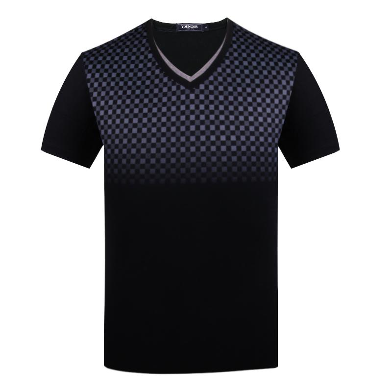 雅戈尔短袖T恤男正品丝光棉纯棉黑色V领商务休闲T恤衫SS51380-01