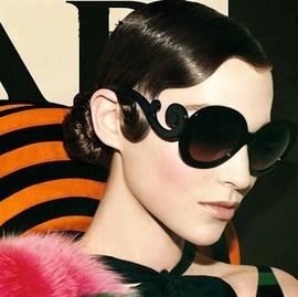 复古女款太阳镜 个性古典大框黑超墨镜 巴洛克风格眼镜 防紫外线图片