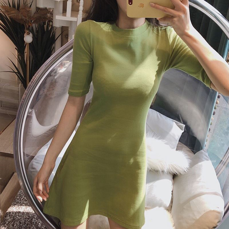 Hong Kong flavor chic fashion waist slim sexy short skirt new Korean style sleeves slim knitted dress female spring and summer