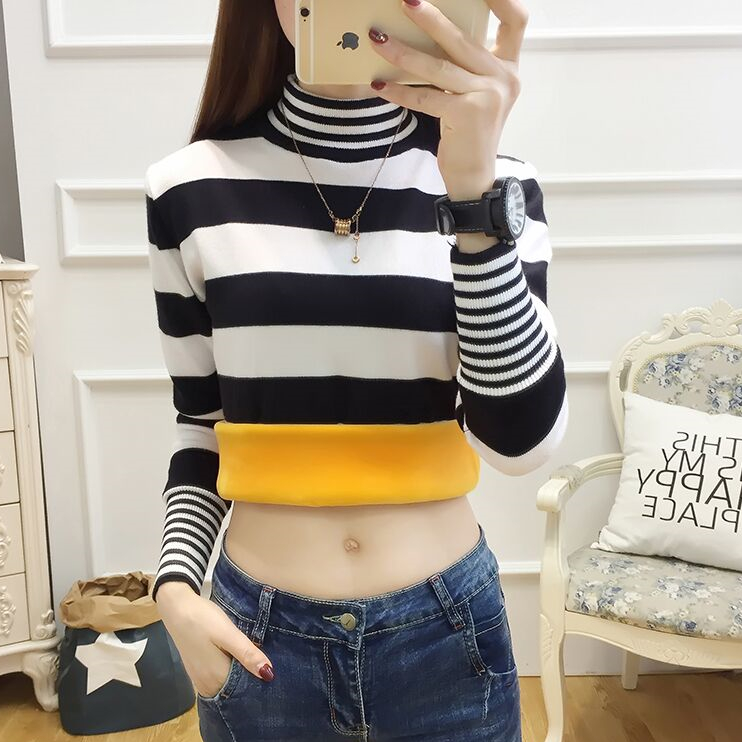 Autumn and winter new plush thickened warm sweater womens Pullover short sweater black and white stripe bottomed shirt womens long sleeve