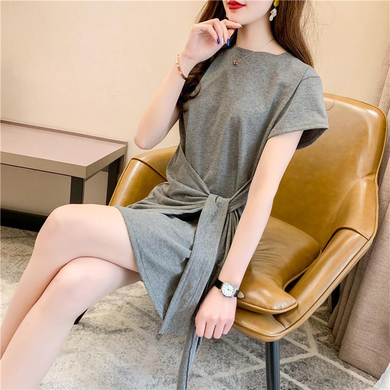 不规则连衣裙女夏韩版收腰显瘦气质短袖T恤裙性感修身包臀裙ins潮