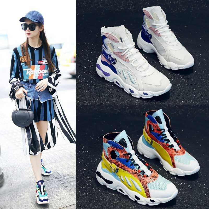 Leisure high top shoes womens shoes fashion shoes 2020 new spring ins gaobang sports dad shoes 2019