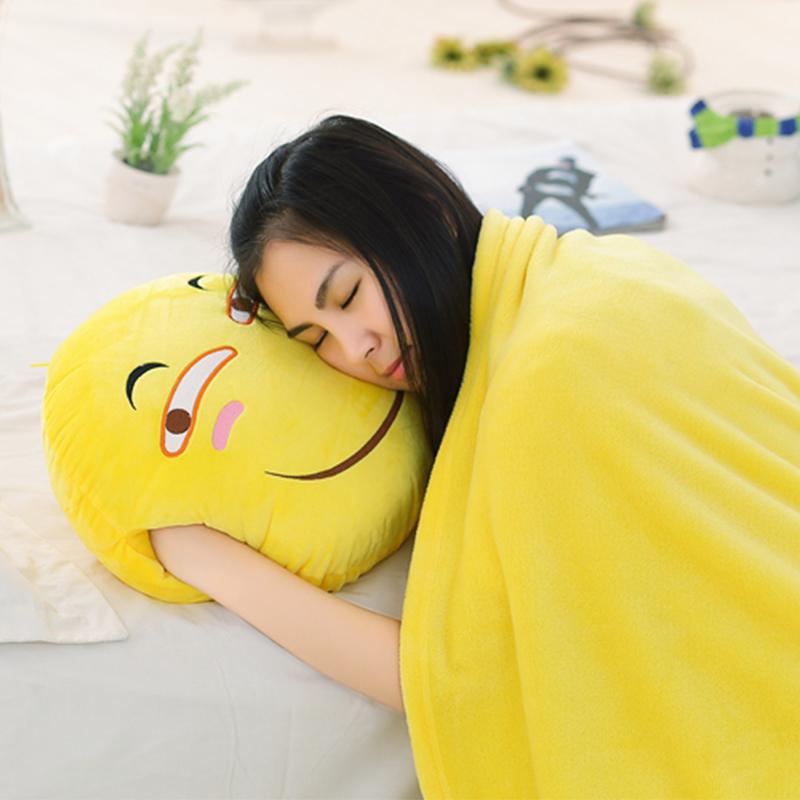 可愛滑稽臉表情抱枕暖手捂靠墊毯子被可插手笑臉毛毯 趴午睡枕頭