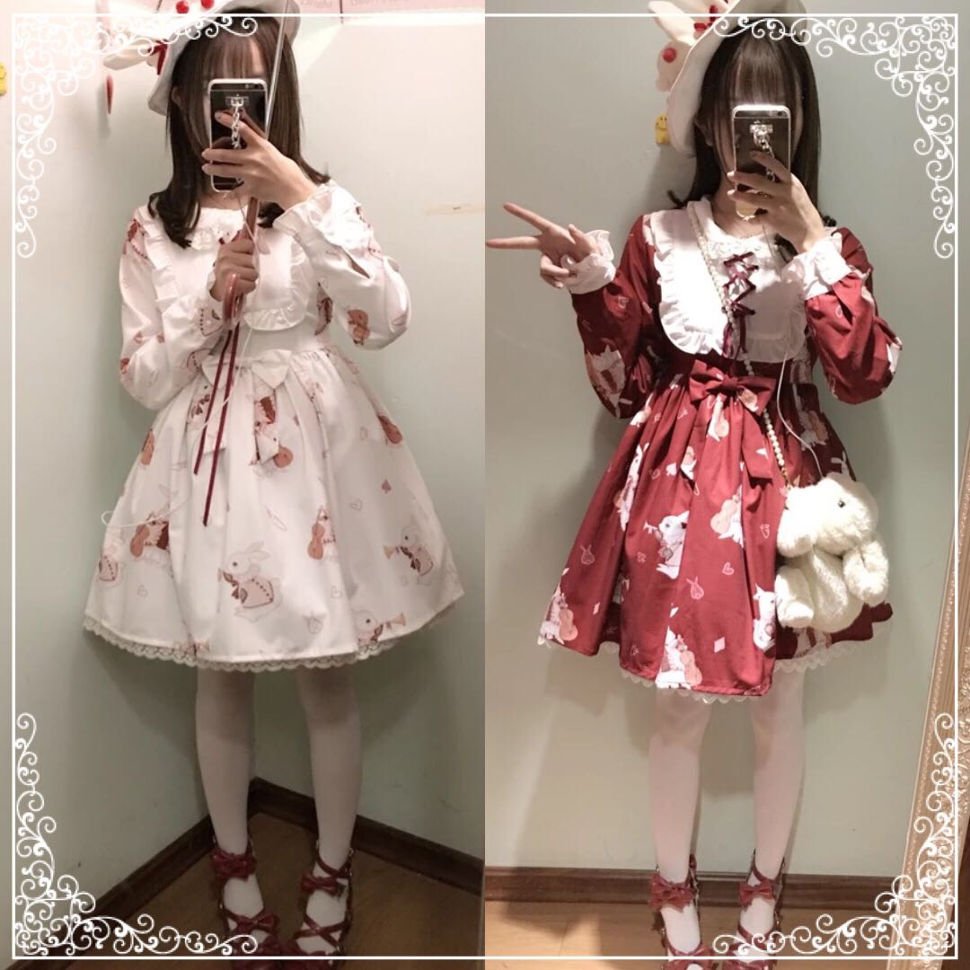 Autumn and winter cute day soft girl top lovely Lolita Lolita retro musical instrument rabbit dress cos dress