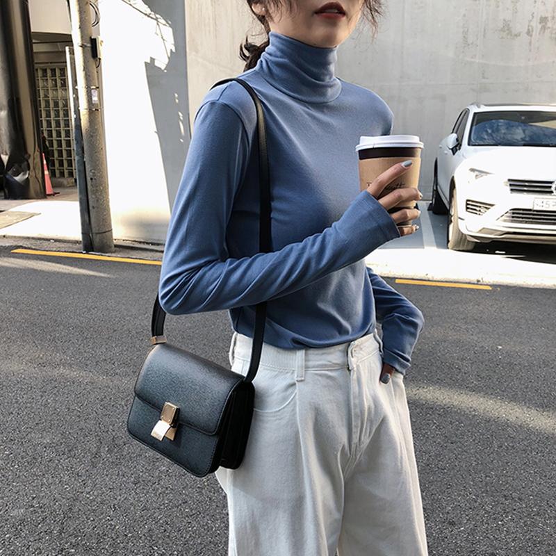 黑色纯棉高领打底衫女秋冬2020新款洋气加厚上衣女装长袖T恤内搭