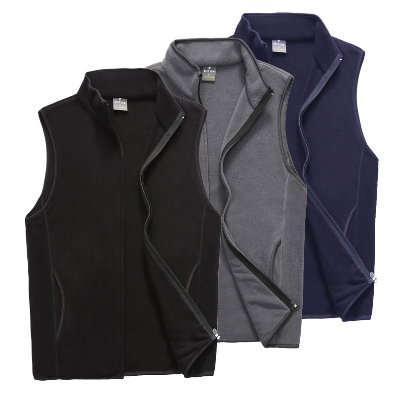 Autumn and winter mens Fleece Vest thin cardigan vest outdoor sports leisure solid color waistcoat for middle-aged and elderly
