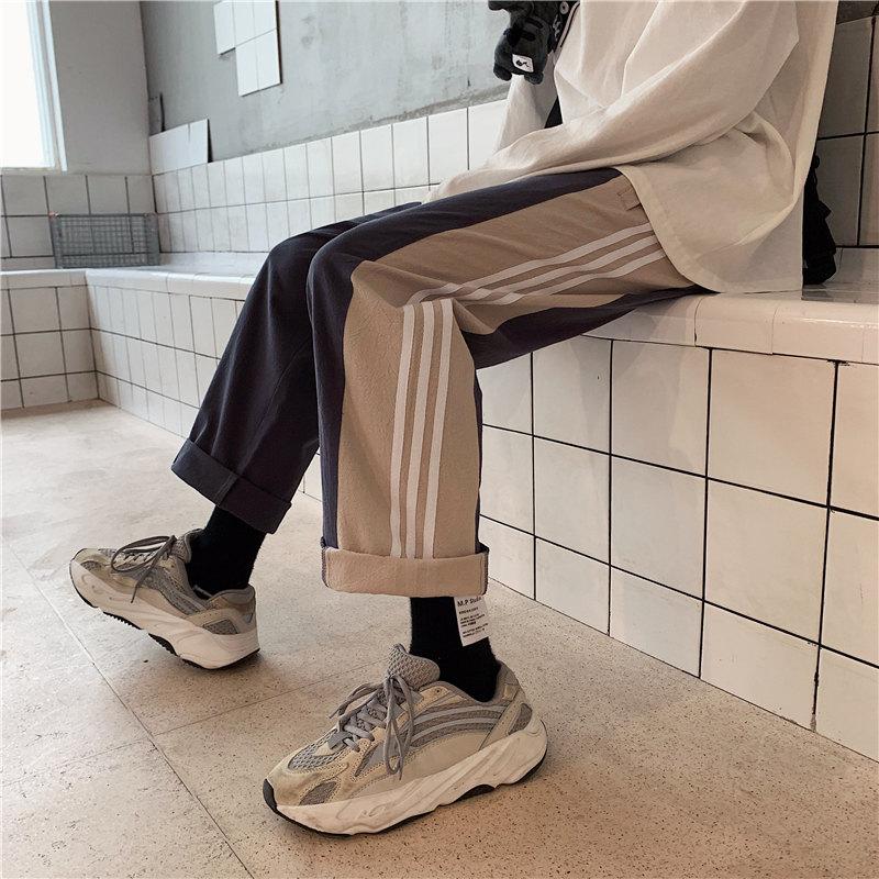 (用112元券)运动裤男欧美ins宽松三条杠直筒裤BF校裤潮牌工装裤坠感阔腿裤秋