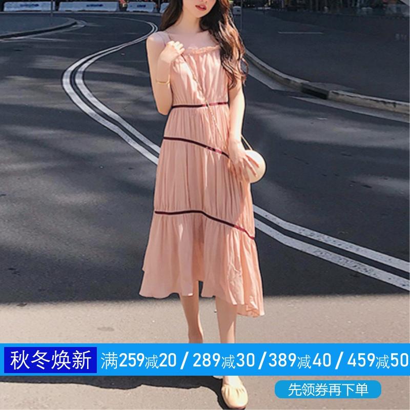 热销0件限时秒杀裙子仙女超仙森系吊带连衣裙2019新款夏很仙的法国小众桔梗裙法式
