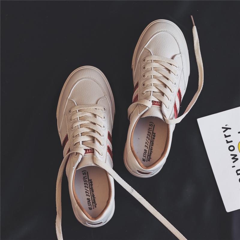 缤逸小白鞋女春季2018新款百搭韩版平底ulzzang原宿chic复古板鞋