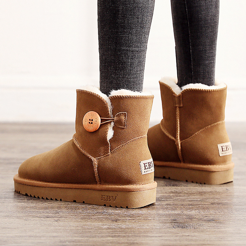 EBV 2019 new snow boots womens leather warm winter Plush versatile flat bottom shoes thickened autumn and winter new