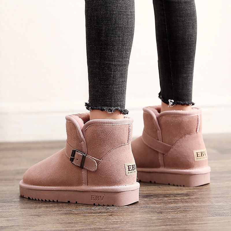 EBV 2019 new snow boots womens winter cotton shoes short tube short boots Plush thickened fashion bread shoes cotton