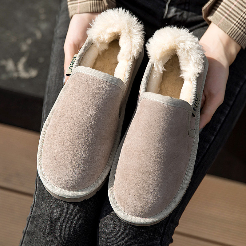 EBV snow boots womens 2019 new short boots winter lovely students thick soled short tube boots plush cotton shoes bread shoes