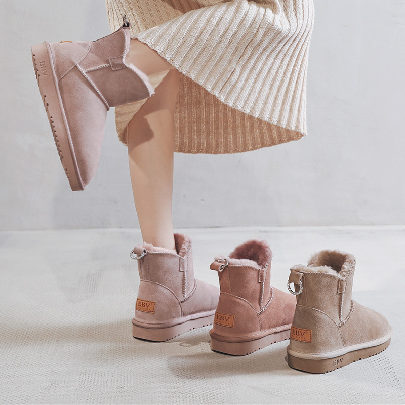 EBV 2019 winter new fashion leather snow boots womens middle tube warm non slip Plush thick bread shoes