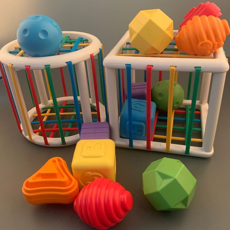 嬰幼兒益智彩虹塞塞樂顏色形狀認知手指精細訓練寶寶手抓搖鈴玩具