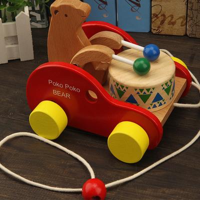 兒童益智力木質拖拉學步車2-3-6歲寶寶拉線小拖車玩具小熊敲鼓車