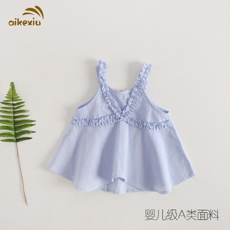 艾可休女童薄款洋气纯棉公主吊带裙