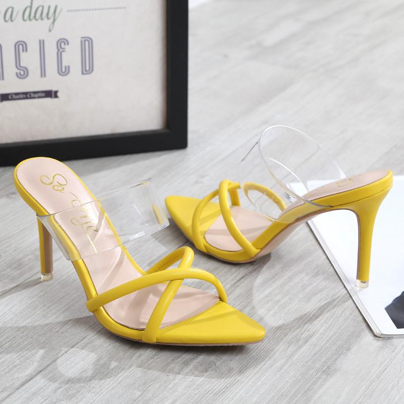 Sexy pointed thin heel sandals, silver slippers, womens cross belt, summer wear 34 size thin belt fairy super heel shoes