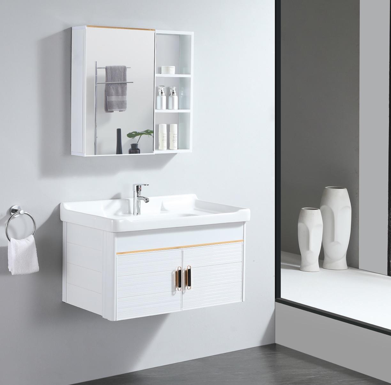 轻奢太空铝浴室柜组合卫生间小户型洗漱台现代一体盆洗手脸盆柜