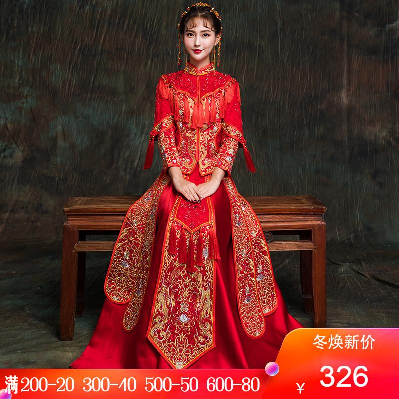 秀禾服新娘敬酒服旗袍2019新款结婚中式礼服古装嫁衣秀和服中国风