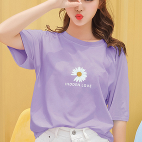 2020年夏季新款小雏菊短袖T恤女宽松韩版网红ins潮紫色半袖上衣服