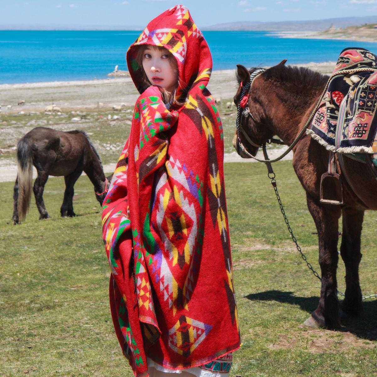 民族风披肩女斗蓬带帽加厚保暖云南西藏青海湖茶卡盐湖披肩