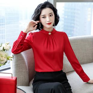 2021年春秋新款雪纺女洋气红色衬衫上衣长袖时尚加绒打底气质衬衣