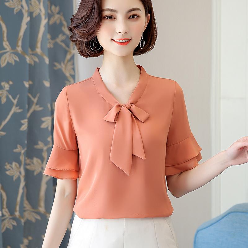 2018夏装新款雪纺衫短袖宽松衬衫女装中袖超仙蝴蝶结系带半袖上衣