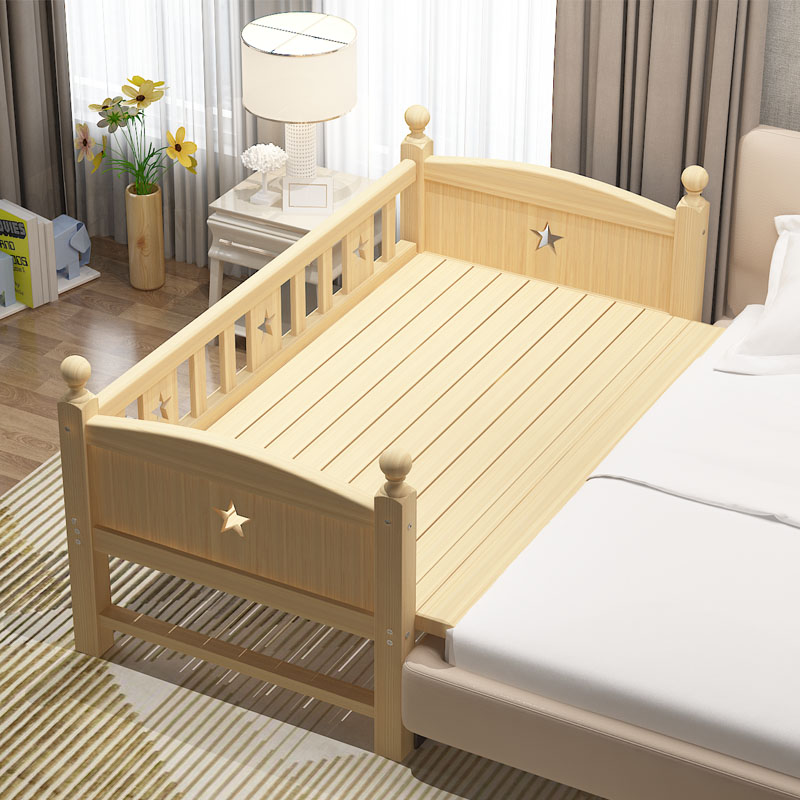 Solid wood with guardrail extended bed childrens splicing bed boy girl single bedside bed baby widened bed extended bed