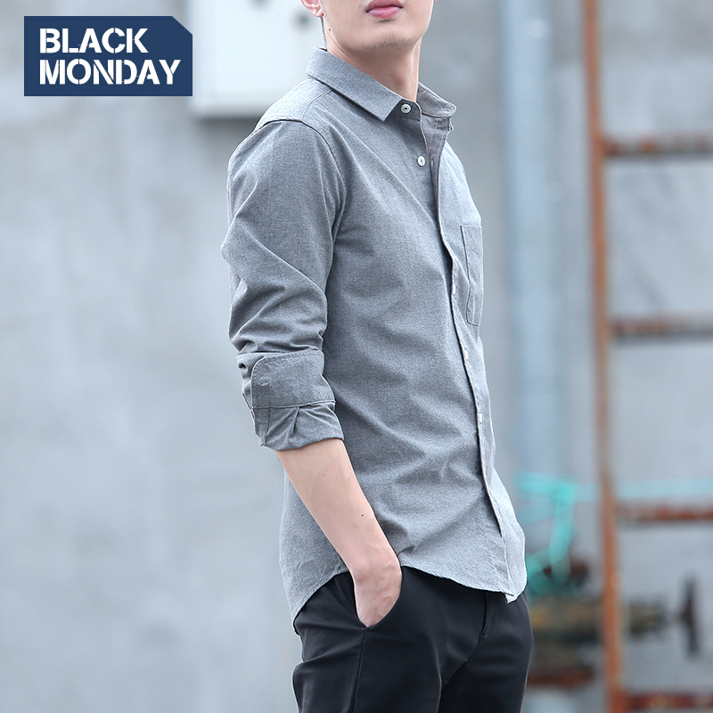 Shirt men's long-sleeved youth cotton autumn and winter brushed shirt fashion casual Korean student slim trendy shirt