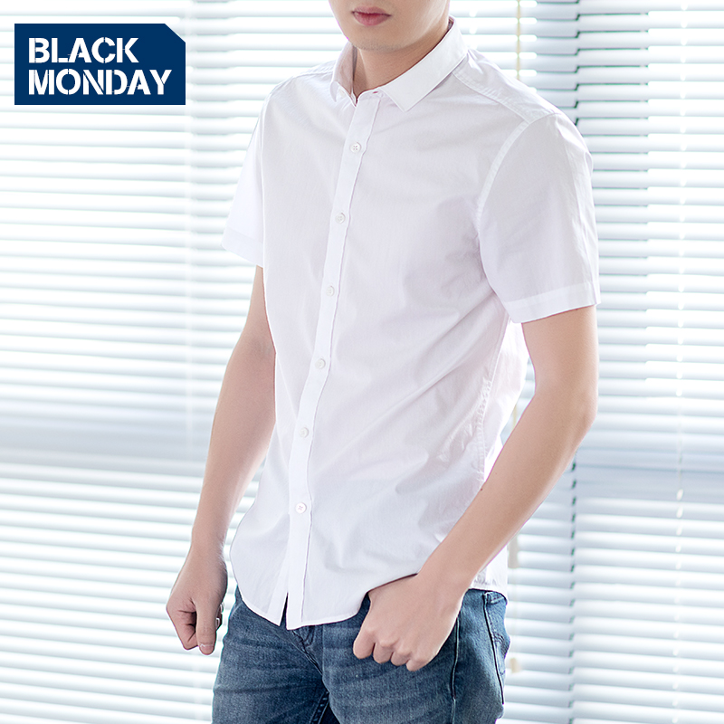 夏薄款纯棉衬衫男士短袖白衬衣青少年休闲商务学生修身韩版潮寸衫