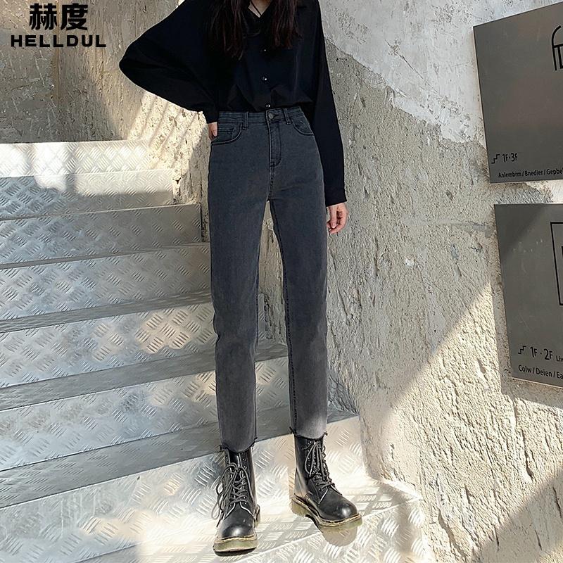 高腰烟灰色微喇牛仔裤女直筒修身显瘦九分2019秋冬小个子弹力裤子图片