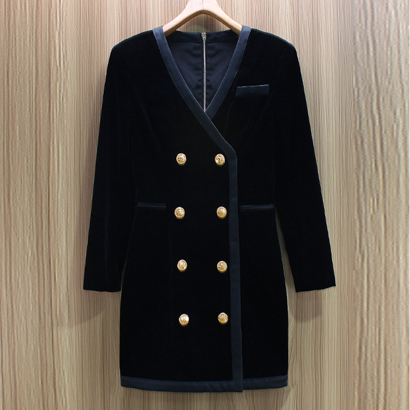 Europe and America 2021 spring and autumn new deep V-neck small black dress commuting metal double breasted suit skirt velvet buttock dress