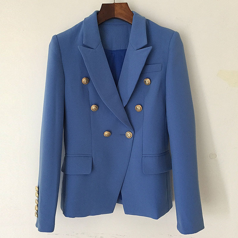 CEO womens suit 2020 spring new commuter ol temperament metal buckle double row button lake blue suit short coat