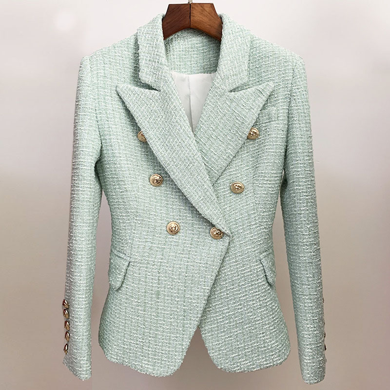 Autumn and winter 2020 womens new commuter ol versatile coat slim lion button double breasted tweed suit