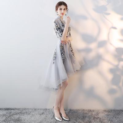 小晚礼服裙子2019新款平时可穿前短后长气场女王中式年会女伴娘服