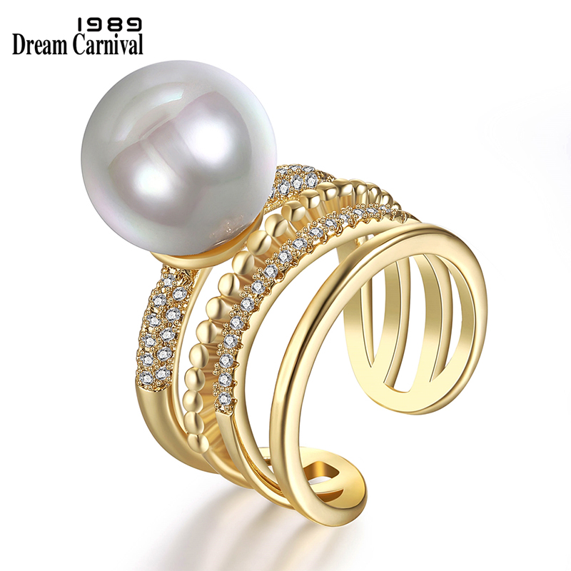 European and American fashion simple atmosphere, micro inlaid zircon imitation pearl ring, womens Platinum Plated fast selling ring
