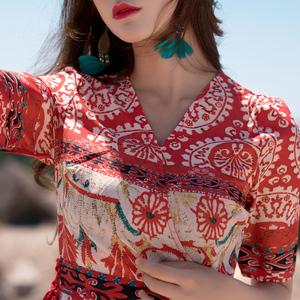 改良旗袍度假沙滩裙泰国风情裙子三亚旅游衣服丽江云南民族风女装