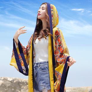 三亞海南旅遊沙漠拍照衣服超仙海邊防曬衣沙灘開衫披肩斗篷罩衫女